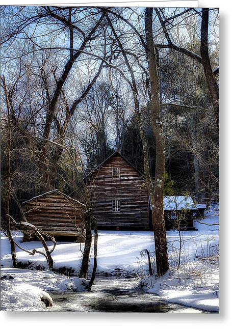 Mountain Cabin Greeting Cards - Homestead In The Cove Greeting Card by Michael Eingle