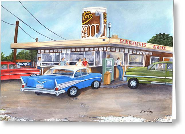 Sandwich Paintings Greeting Cards - Hometown Memories Greeting Card by Elaine Hodges