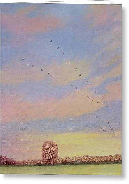 Swallow Greeting Cards - Homeward, 2004 Oil On Canvas Greeting Card by Ann Brain
