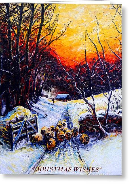 Wintery Barn Greeting Cards - Homeward Bound Christmas card Greeting Card by Andrew Read