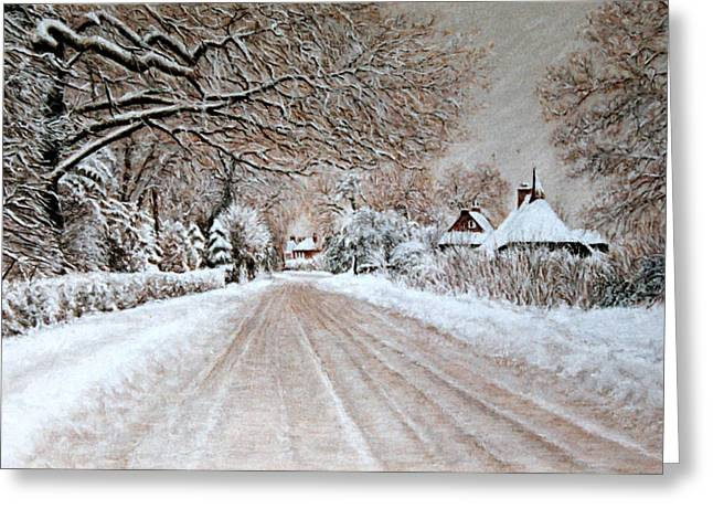 Snow Tree Prints Pastels Greeting Cards - Homeward Bound Greeting Card by Rosemary Colyer