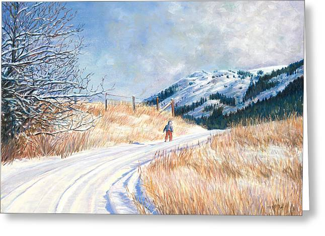 Winter Roads Pastels Greeting Cards - Homeward Greeting Card by Nick Payne