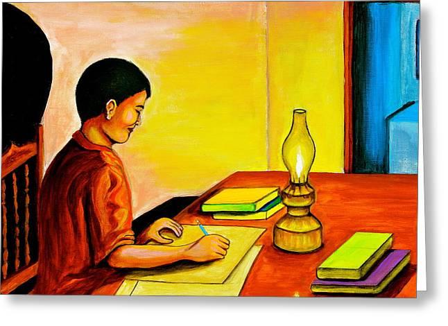 Homework Paintings Greeting Cards - Homework Greeting Card by Cyril Maza