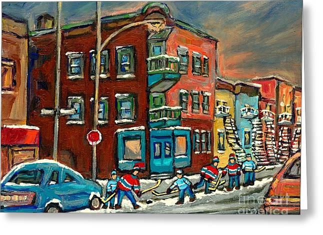 Jewish Montreal Paintings Greeting Cards - Hockey Art Big Game Tonight At The Local Deli Montreal Winter Art Hockey Near Winding Staircases  Greeting Card by Carole Spandau