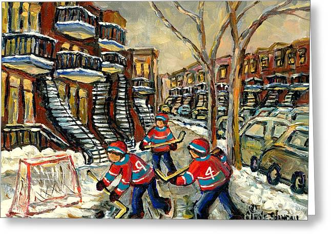 Hockey Paintings Greeting Cards - Hockey Art Homage To Number 4 And 9 Verdun Boys In New Red Hockey Jerseys Near Staircase            Greeting Card by Carole Spandau