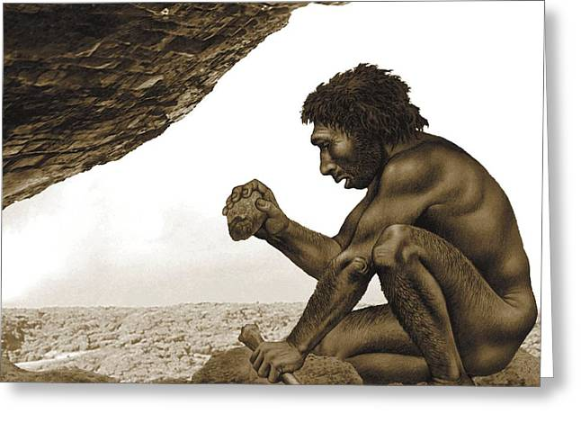 Ancestors Greeting Cards - Homo antecessor, artwork Greeting Card by Science Photo Library