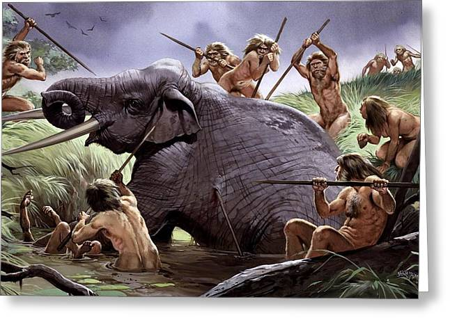 Best Sellers -  - Cooperation Greeting Cards - Homo heidelbergensis hunting Greeting Card by Science Photo Library
