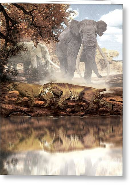 Reflections In River Digital Art Greeting Cards - Homotherium Saber-toothed Cats Greeting Card by Jan Sovak