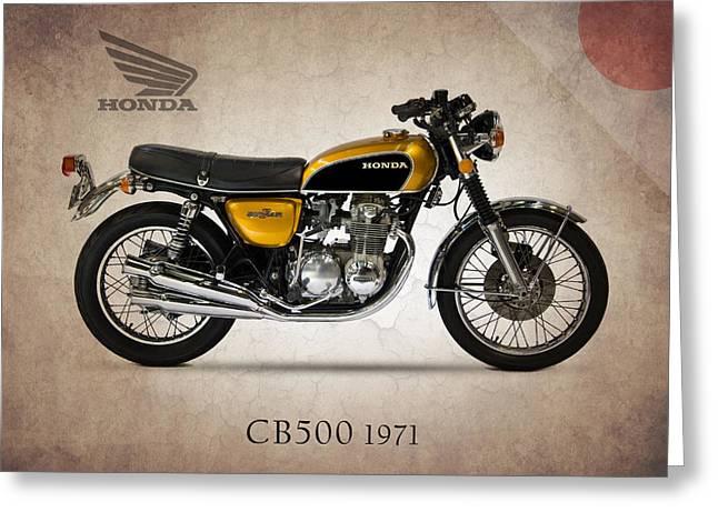 Honda Greeting Cards - Honda CB500 1971 Greeting Card by Mark Rogan