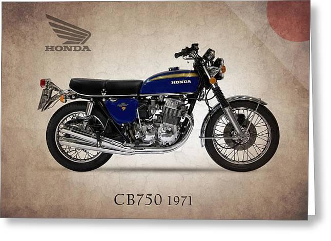 Honda Greeting Cards - Honda CB750 1971 Greeting Card by Mark Rogan