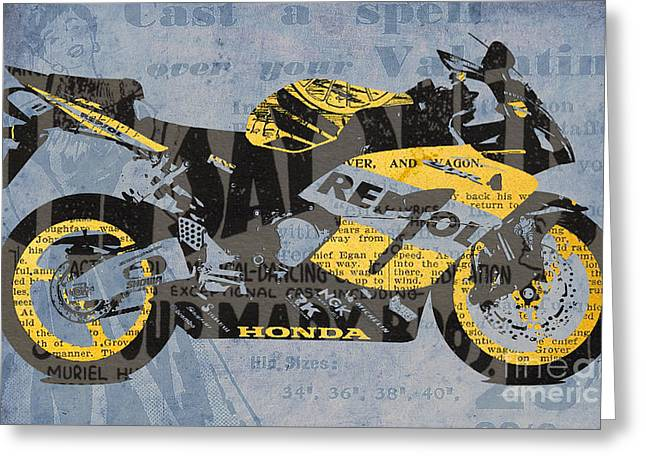 Geography Mixed Media Greeting Cards - Honda CBR1000 - Old Newspaper Cuts Greeting Card by Pablo Franchi