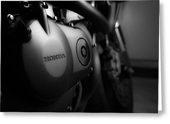 Motorcycles Pyrography Greeting Cards - Honda Motorcycle Greeting Card by Alex Heath