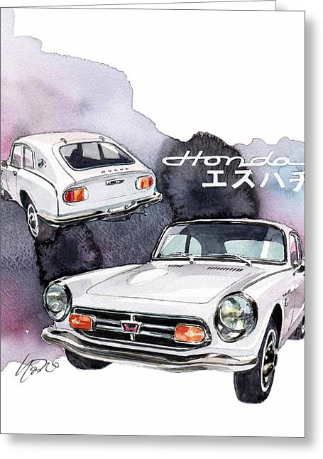 Honda Greeting Cards - Honda S800 Greeting Card by Yoshiharu Miyakawa