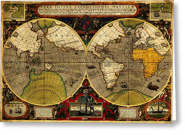 Vector Image Paintings Greeting Cards - Hondius map of the World 1595 Greeting Card by MotionAge Designs