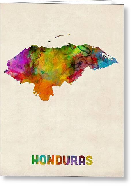 Latin Greeting Cards - Honduras Watercolor Map Greeting Card by Michael Tompsett