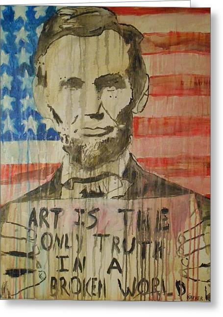 Abe Lincoln Paintings Greeting Cards - Honest Abe Greeting Card by Chad Barker