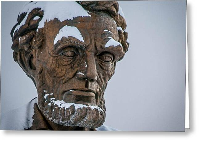 Abraham Lincoln Pictures Greeting Cards - Honest Abe in Snow Greeting Card by Cathy Smith