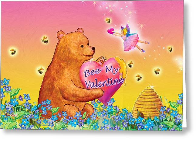 Fairy Hearts Pink Flower Greeting Cards - Honey Bear and Fairy Valentine Greeting Card by Teresa Ascone