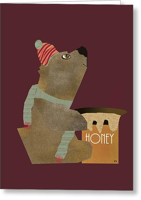 Brown Bear Digital Greeting Cards - Honey Bear Greeting Card by Bri Buckley