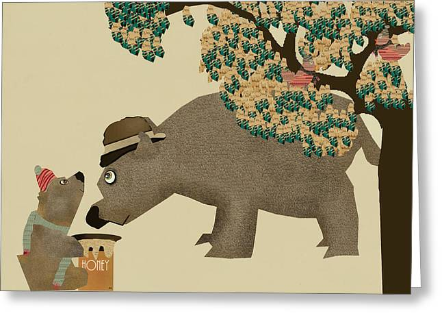 Tress Prints Greeting Cards - Honey Bear Days Greeting Card by Bri Buckley