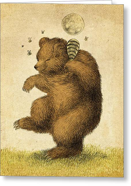 Bees Drawings Greeting Cards - Honey Bear Greeting Card by Eric Fan