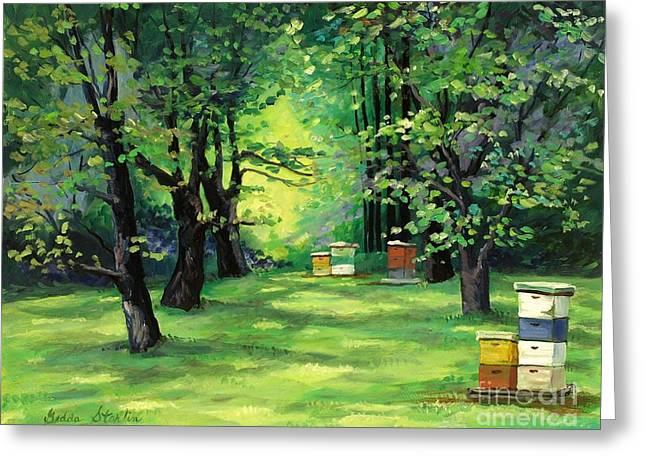 Indiana Art Paintings Greeting Cards - Honey Farm Greeting Card by Gedda Runyon Starlin