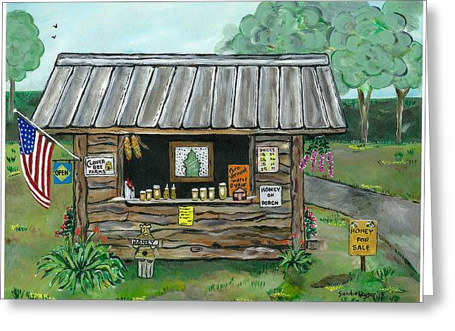 Farm Stand Paintings Greeting Cards - Honey for Sale Greeting Card by Sandie Keyser