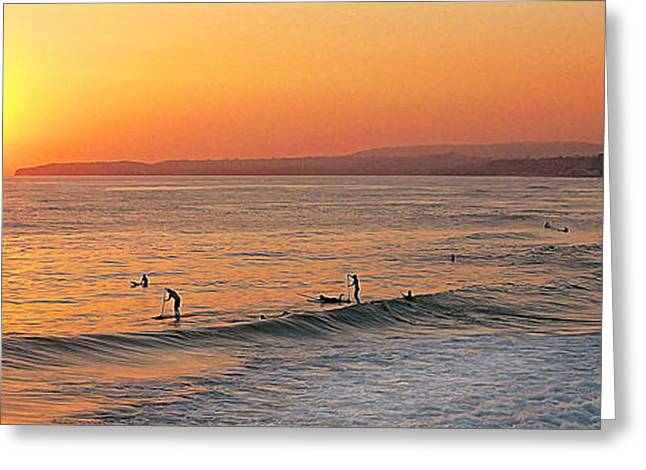 Surfing In San Clemente Greeting Cards - Honey Ill Be Late For Dinner Greeting Card by Ron Regalado