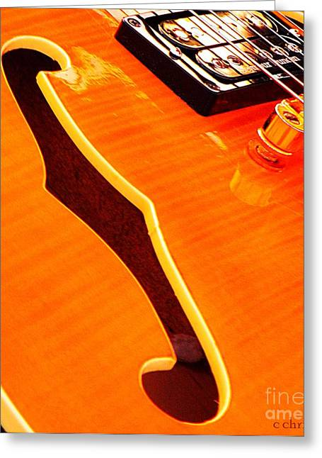 Yellow Black White Silver Greeting Cards - Honey of a Guitar Greeting Card by Chris Berry