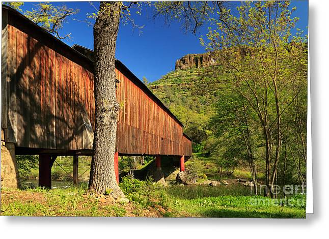 Covered Bridge Greeting Cards - Honey Run Covered Bridge Greeting Card by James Eddy