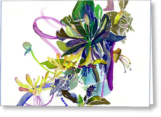 Suckle Greeting Cards - Honey Suckle Vine Greeting Card by Mindy Newman