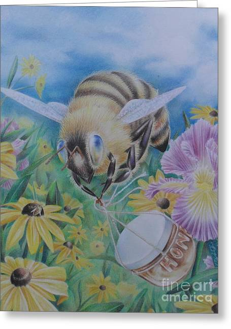 Ambition Drawings Greeting Cards - Honeybee with Daisies Greeting Card by Charity Goodwin