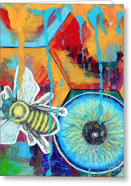 Genevieve Esson Drawings Greeting Cards - Honeycomb Bee Greeting Card by Genevieve Esson
