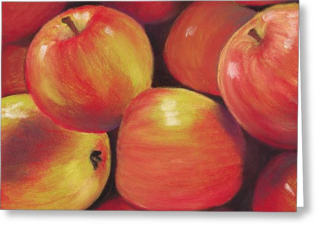 Interior Still Life Pastels Greeting Cards - Honeycrisp Apples Greeting Card by Anastasiya Malakhova