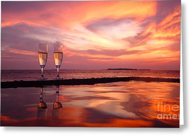 Champagne Glasses Greeting Cards - Honeymoon - A Heart In The Sky Greeting Card by Hannes Cmarits