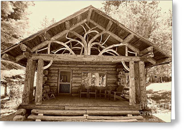 Mountain Cabin Greeting Cards - Honeymoon Cabin Greeting Card by Cheryl Young