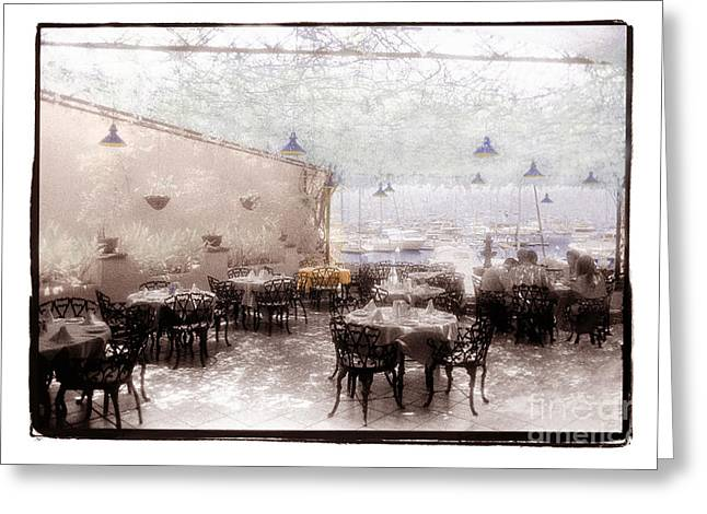 Patio Table And Chairs Digital Art Greeting Cards - Honeymoon Cafe Greeting Card by Jeanette Brown