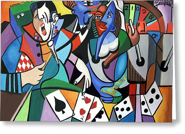 Cubism Prints Greeting Cards - Honeymoon In Vegas Greeting Card by Anthony Falbo