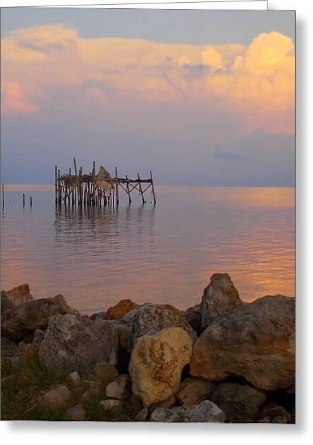 Cedar Key Greeting Cards - Honeymoon Shack Glow Greeting Card by Sheri McLeroy