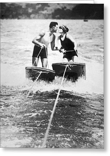 Honeymooners On Sf Bay Greeting Card by Underwood Archives
