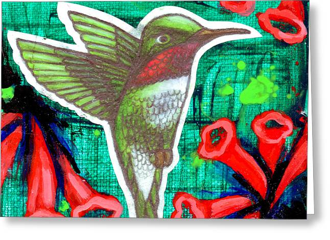 Esson Drawings Greeting Cards - Honeysuckle Hummingbird Greeting Card by Genevieve Esson