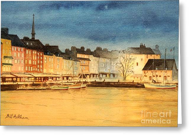 Champlain Greeting Cards - Honfleur  Evening Lights Greeting Card by Bill Holkham