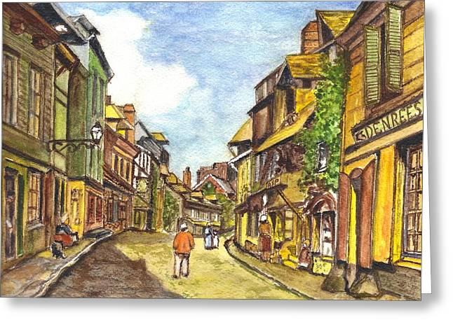 Town Mixed Media Greeting Cards - Honfleur France La Rue de La Bouille after Monet  Greeting Card by Carol Wisniewski