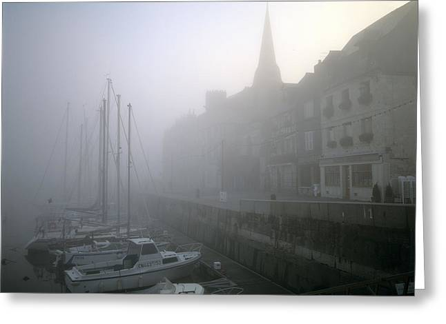 Boats In Harbor Greeting Cards - Honfleur Harbour in fog. Calvados. Normandy. France. Europe Greeting Card by Bernard Jaubert