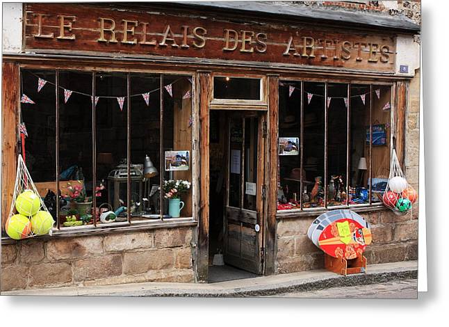 Village Life Greeting Cards - Honfleur Shop Front Greeting Card by Aidan Moran