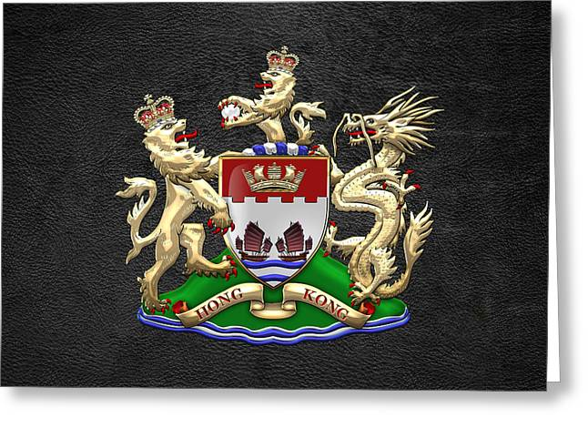 Leather Coat Greeting Cards - Hong Kong - 1959-1997 Coat of Arms over Black Leather  Greeting Card by Serge Averbukh