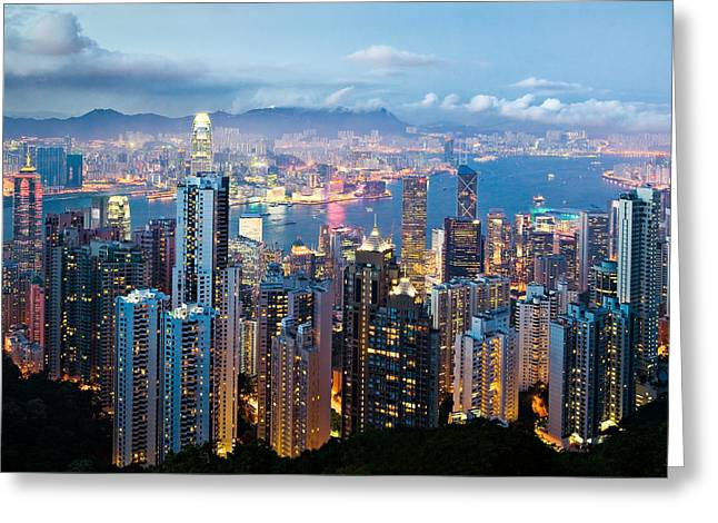 Harbor Greeting Cards - Hong Kong at Dusk Greeting Card by Dave Bowman