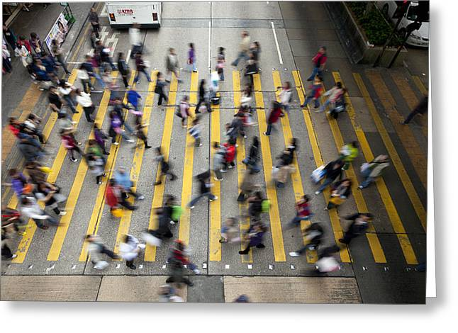 Chinese Ethnicity Greeting Cards - Hong Kong Busy Street Greeting Card by King Wu