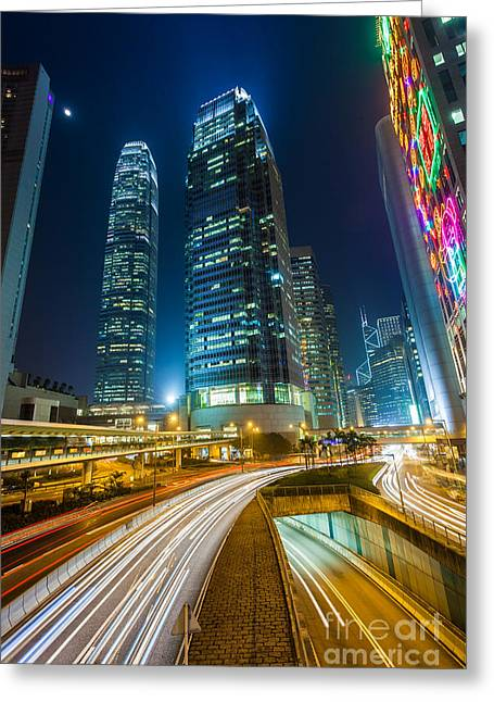 Fototrav Print Greeting Cards - Hong Kong City at Night Greeting Card by Fototrav Print