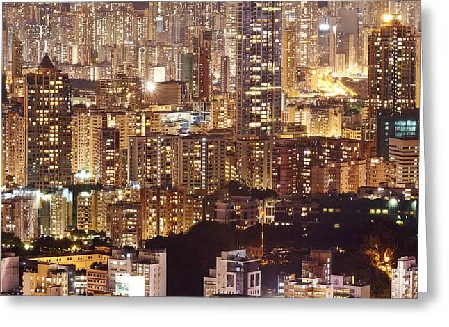 Sha Greeting Cards - Hong Kong City Density Greeting Card by Michael  Ke